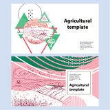 Horizontal agricultural banner. Geometrical composition. Background for covers, flyers, banners. stock illustration