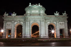 Horizontal Alcalá Gate at night Royalty Free Stock Photo