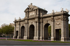 Horizontal Alcalá Gate from the side in Madrid Royalty Free Stock Photography