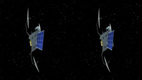 Horizontal anamorphic stereo pair, fictional artificial satellite rotates on stars background, seamless loop, 3d
