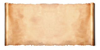 Horizontal ancient scroll. Over a white background Stock Images