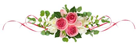 Horizontal arrangement with pink roses, freesia flowers, eucalyp. Tus leaves and sarin ribbons isolated on white. Top view. Flat lay stock image