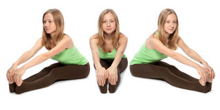 Horizontal assembly of the three angles of a girl Royalty Free Stock Image