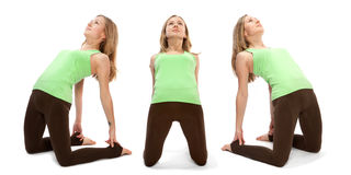 Horizontal assembly of the three angles of a girl. Practicing yoga stock photo