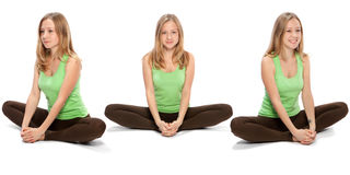 Horizontal assembly of the three angles of a girl. Practicing yoga stock image