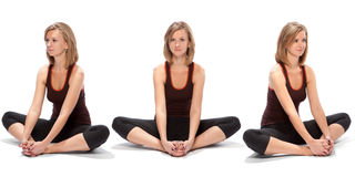 Horizontal assembly of the three angles of a girl Stock Image