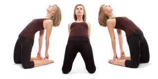 Horizontal assembly of the three angles of a girl. Practicing yoga royalty free stock image