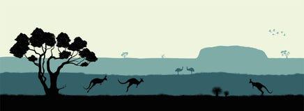 Horizontal australien Silhouette noire des arbres, du kangourou et des ostrichs sur le fond blanc La nature de l'Australie illustration stock