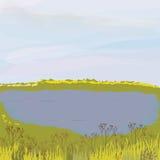 Horizontal automnal avec le lac et le pré Photographie stock libre de droits