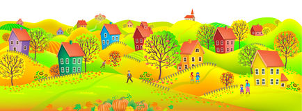 Horizontal autumn banner. Beautiful autumn horizontal banner depicting a village with trees in autumn colors Royalty Free Stock Image