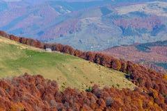 Horizontal autumn mountain landscape with house. Beautiful sunny Royalty Free Stock Photos