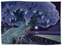 Horizontal avec de l'eau la nuit. Photographie stock libre de droits
