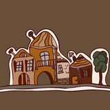 Horizontal avec de vieilles maisons Image stock