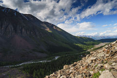 Horizontal avec des montagnes République l'Altay photographie stock libre de droits