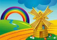 Horizontal avec des moulins illustration stock