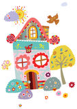 Horizontal avec la Chambre et l'arbre mignons illustration libre de droits