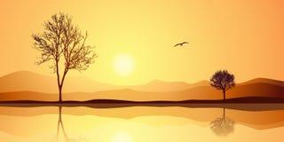 Horizontal avec la réflexion Images stock