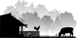 Horizontal avec la vache et le robinet illustration libre de droits