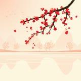 Horizontal avec le branchement de sakura illustration stock