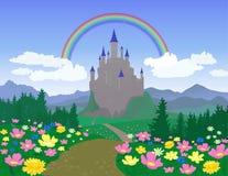 Horizontal avec le château illustration stock