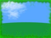 Horizontal avec le ciel bleu d'herbe Photos stock