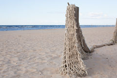 Horizontal avec le filet de pêche sur la mer baltique Photos stock