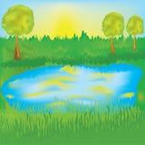 Horizontal avec le lever de soleil, le pré et le lac Photographie stock