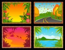 Horizontal avec les centrales tropicales illustration libre de droits