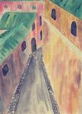Horizontal avec les peupliers argentés fleuve de peinture à l'huile d'horizontal de forêt illustration de vecteur