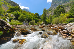 Horizontal avec un fleuve de montagne Images libres de droits