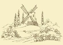 Horizontal avec un moulin Image stock