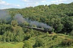 Horizontal avec un train de vapeur photo stock