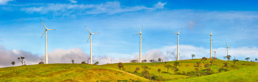 Horizontal Axis Wind Turbines. Panorama Royalty Free Stock Photo