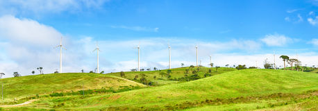 Horizontal Axis Wind Turbines. Panorama Royalty Free Stock Images