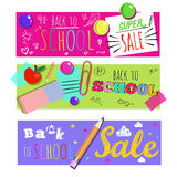 Horizontal Back To School Banner Set Stock Photography