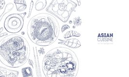 Horizontal backdrop with Asian cuisine meals and food lying on plates hand drawn with contour lines on white background