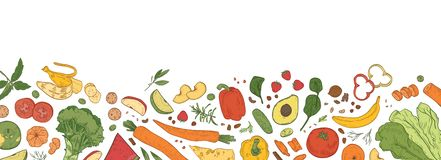 Horizontal backdrop with border consisted of fresh organic food. Banner template with tasty eco wholesome ripe. Vegetables, fruits, delicious healthy products vector illustration