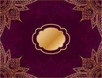 Horizontal  background in arabic style, with red background and gold mandala ornament. Horizontal  illustration in arabic style, with red background and gold Royalty Free Stock Photo