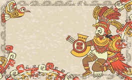 Horizontal background in the Aztec style. God Quetzalcoatl and bird, third variant Royalty Free Stock Photos