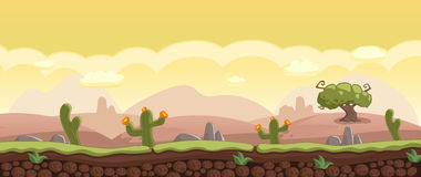 Horizontal Background with Desert landscape Stones, Rocks, Cacti Stock Photography
