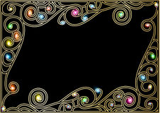Horizontal  background frame with gold ornaments of precious sto Stock Photo