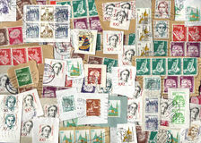 Horizontal background of German postage stamps Stock Photo