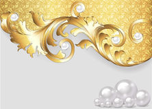 Horizontal  background with gold ornaments and pearls Royalty Free Stock Images