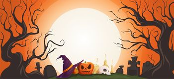 Horizontal background with halloween attributes and a big moon. Vector illustration stock illustration