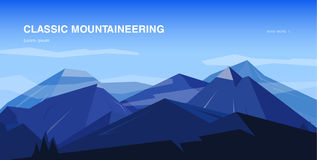 Horizontal background with mountains. Mountaineering colorful illustration, concept with place for text. Banner in Stock Photos