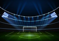 Horizontal Background for night football stadium in the spotlight Stock Photography