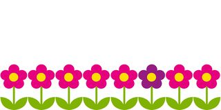 Horizontal background with pink flowers vector illustration