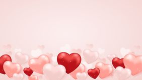 Horizontal background for Valentine`s day. Decorative festive horizontal background for Valentine`s day with pink and red heart balloons. Vector illustration Stock Images