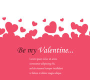 Horizontal background Valentine`s Day. With pink hearts and space for text Royalty Free Stock Images