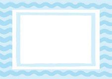Horizontal background with waves and rectangular frame. Drawn by hand with a rough brush. Stock Images